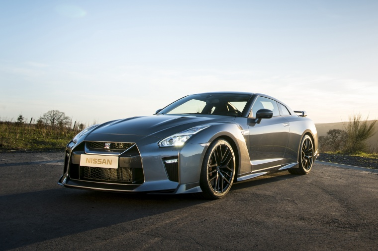 2017 Nissan GT-R Coupe Premium in Gun Metallic from a front left view