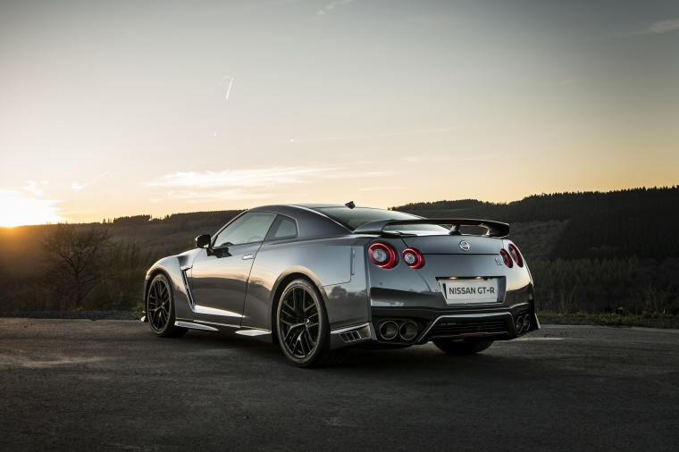 2017 Nissan GT-R Coupe Premium in Gun Metallic from a rear left three-quarter view