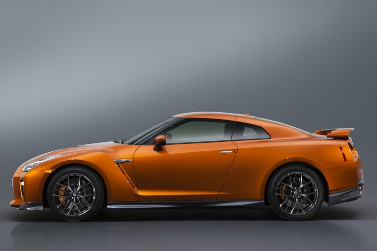 2017 Nissan GT-R Coupe Premium in Blaze Metallic from a side view