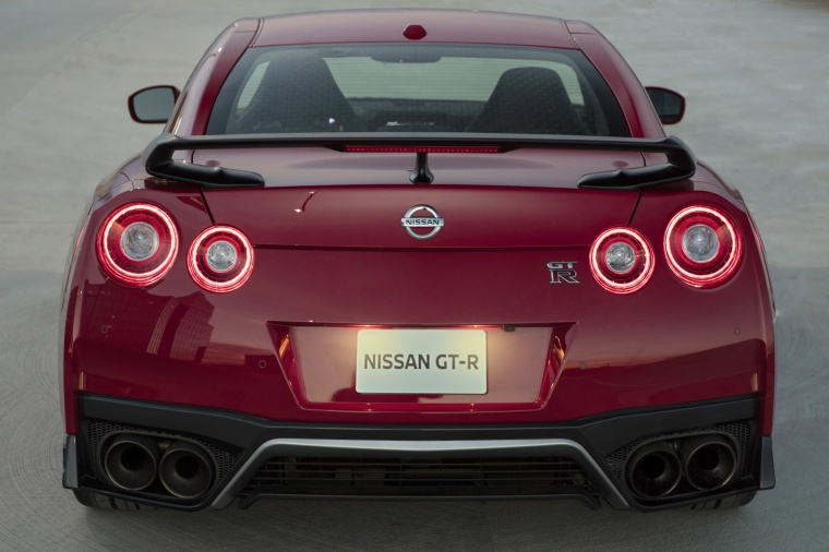 2017 Nissan GT-R Coupe Track Edition in Solid Red from a rear view