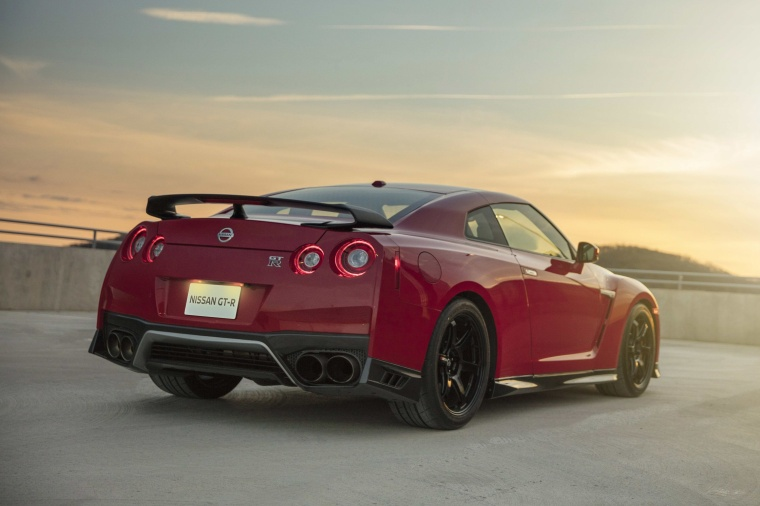 2017 Nissan GT-R Coupe Track Edition in Solid Red from a rear right view