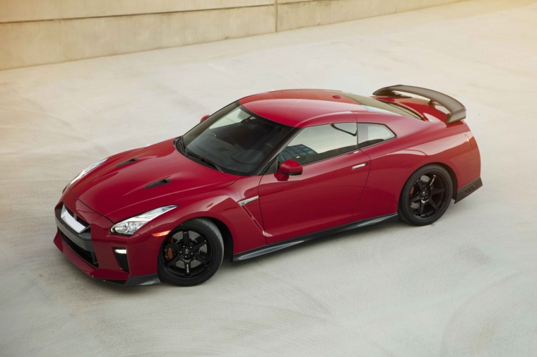 2017 Nissan GT-R Coupe Track Edition in Solid Red from a front left three-quarter top view
