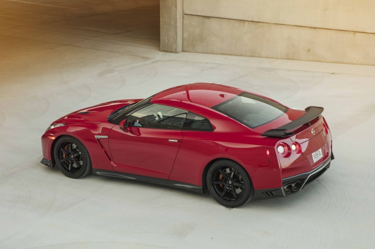 2017 Nissan GT-R Coupe Track Edition in Solid Red from a rear left three-quarter top view