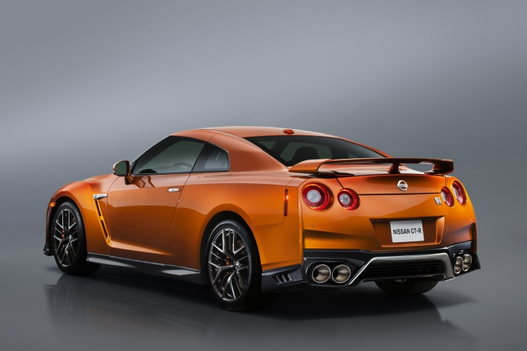 2017 Nissan GT-R Coupe Premium in Blaze Metallic from a rear left three-quarter view
