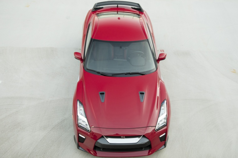 2017 Nissan GT-R Coupe Track Edition in Solid Red from a frontal top view