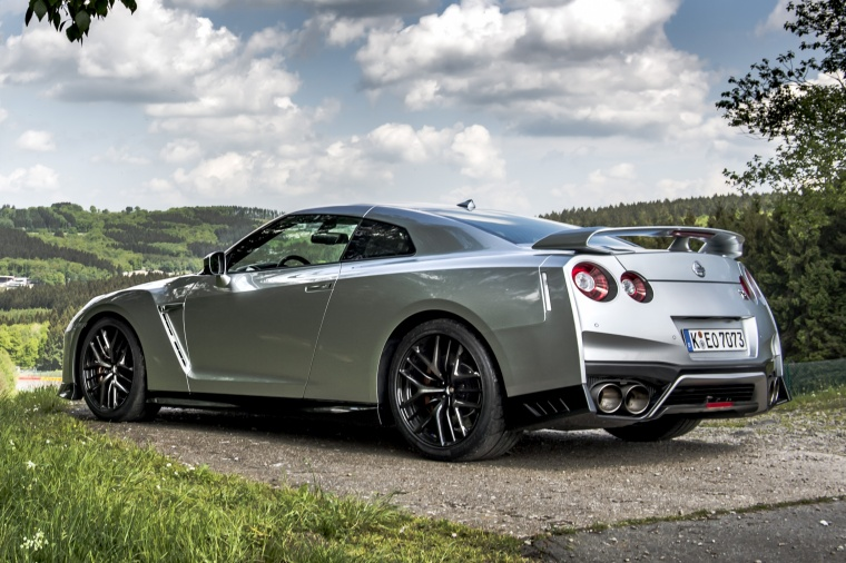 2017 Nissan GT-R Coupe Track Edition in Super Silver Metallic from a rear left three-quarter view