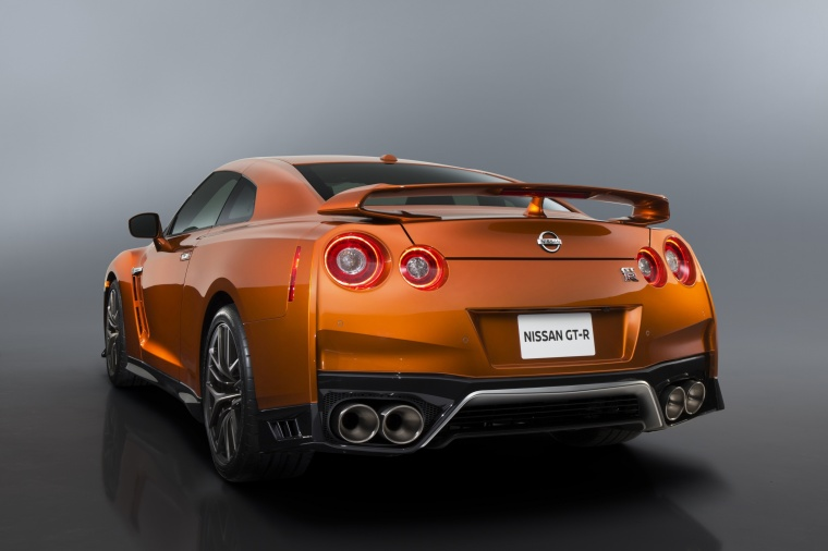2017 Nissan GT-R Coupe Premium in Blaze Metallic from a rear left view