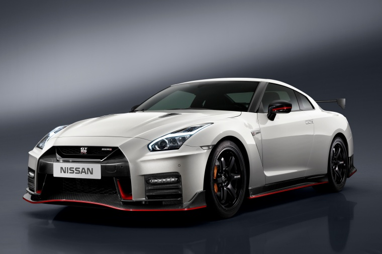 2017 Nissan GT-R Coupe NISMO in Pearl White from a front left three-quarter view