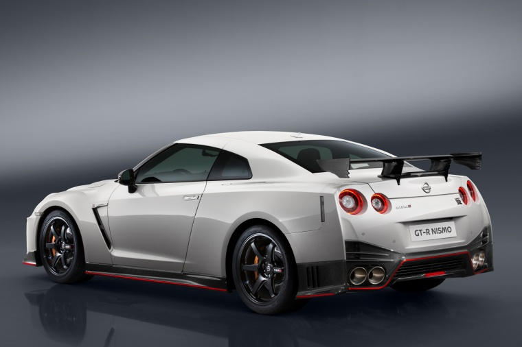 2017 Nissan GT-R Coupe NISMO in Pearl White from a rear left three-quarter view