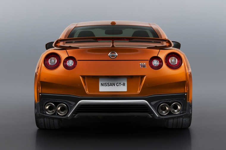 2017 Nissan GT-R Coupe Premium in Blaze Metallic from a rear view