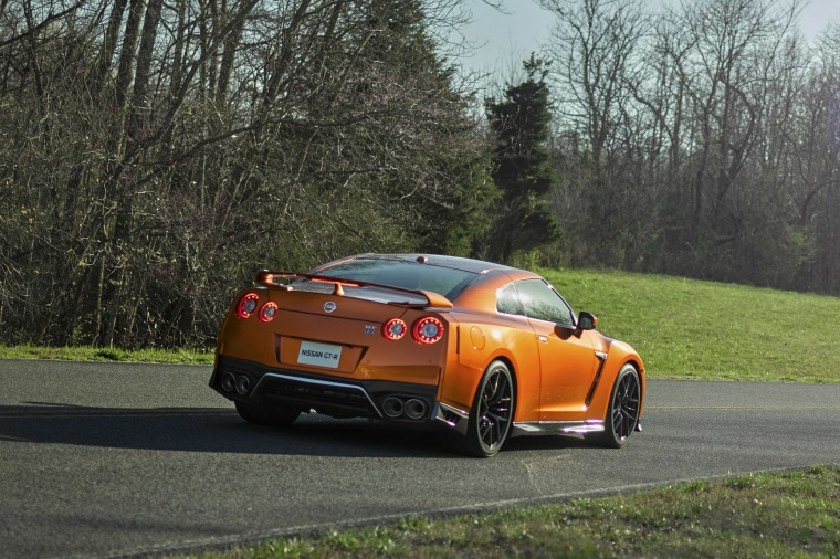 2017 Nissan GT-R Coupe Premium in Blaze Metallic from a rear right three-quarter view