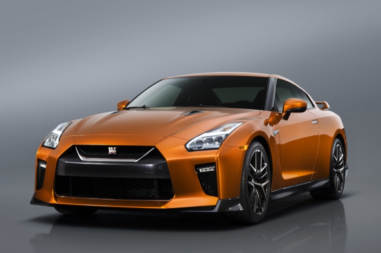 2018 Nissan GT-R Coupe Premium in Blaze Metallic from a front left view