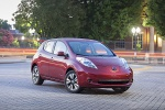 2015 Nissan Leaf in Cayenne Red - Static Front Right Three-quarter View