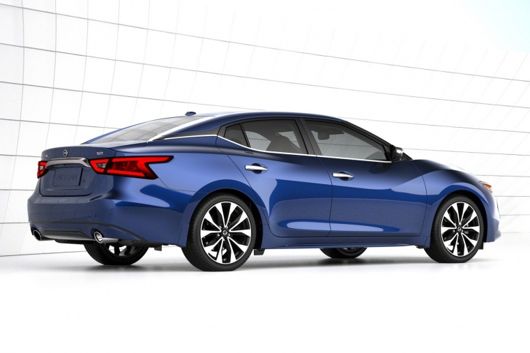 2016 Nissan Maxima SR Sedan in color from a rear right view