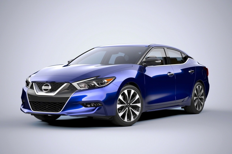 2016 Nissan Maxima SR Sedan in Deep Blue Pearl from a front left three-quarter view