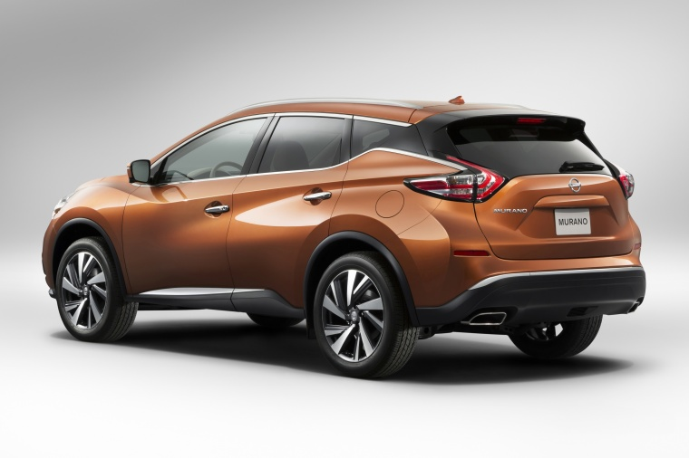 Picture of a 2017 Nissan Murano in Pacific Sunset Metallic from a rear left three-quarter perspective