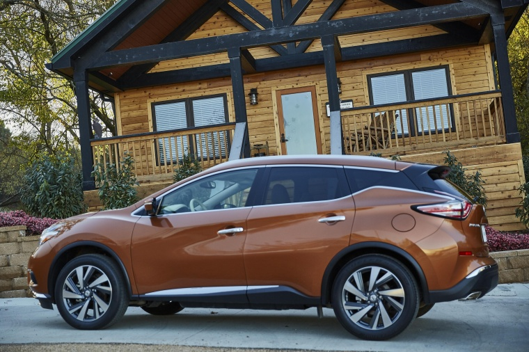 2018 Nissan Murano Platinum AWD in Pacific Sunset Metallic from a rear left three-quarter view