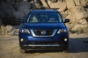 2018 Nissan Pathfinder Platinum 4WD in Caspian Blue from a frontal view