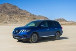 2018 Nissan Pathfinder Platinum 4WD in Caspian Blue - Driving Front Left Three-quarter View