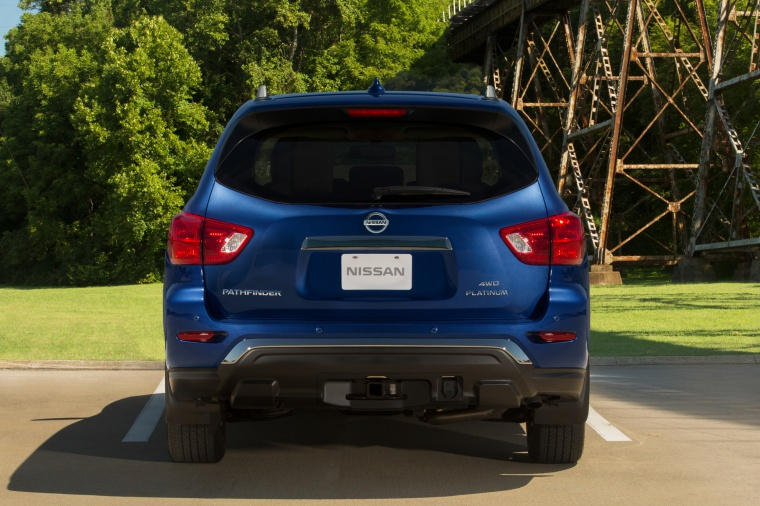 Picture of a 2020 Nissan Pathfinder Platinum 4WD in Caspian Blue Metallic from a rear perspective