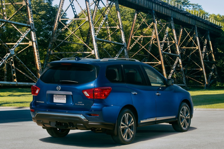 Picture of a 2020 Nissan Pathfinder Platinum 4WD in Caspian Blue Metallic from a rear right three-quarter perspective