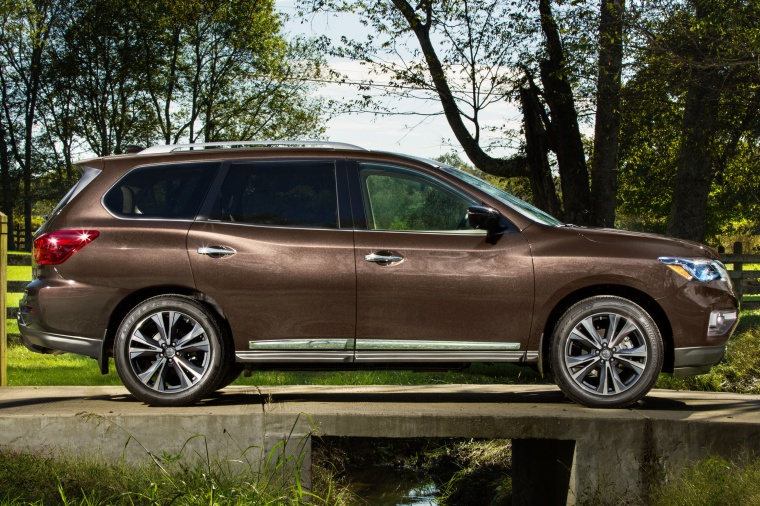Picture of a 2020 Nissan Pathfinder Platinum 4WD in Mocha Almond Pearl from a right side perspective