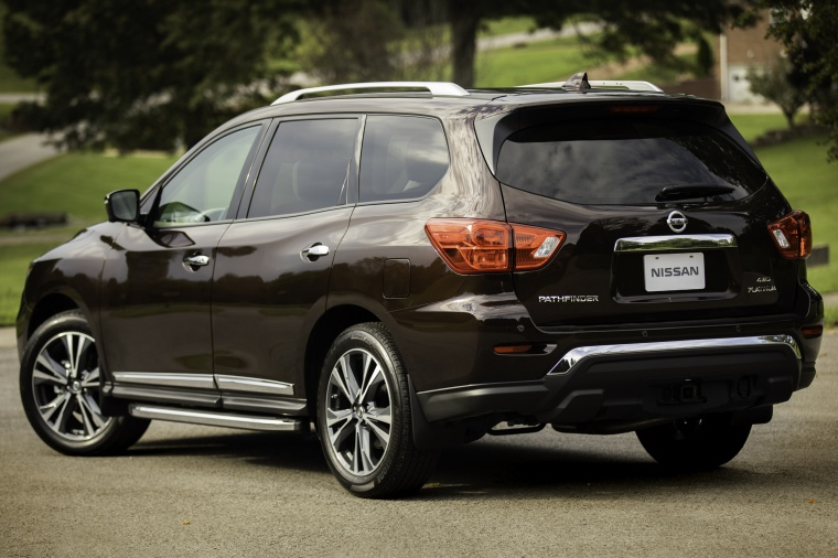 Picture of a 2020 Nissan Pathfinder Platinum 4WD in Mocha Almond Pearl from a rear left three-quarter perspective