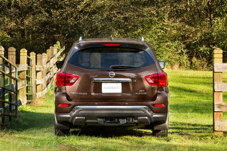 Picture of a 2020 Nissan Pathfinder Platinum 4WD in Mocha Almond Pearl from a rear perspective