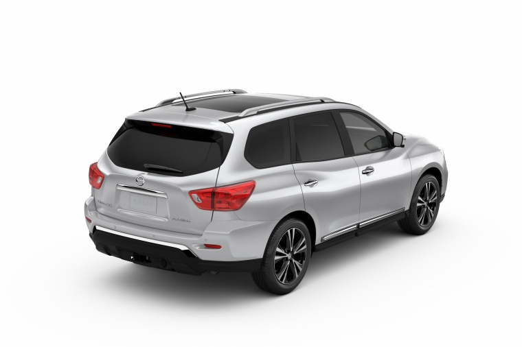 Picture of a 2020 Nissan Pathfinder Platinum in Brilliant Silver Metallic from a rear right three-quarter perspective