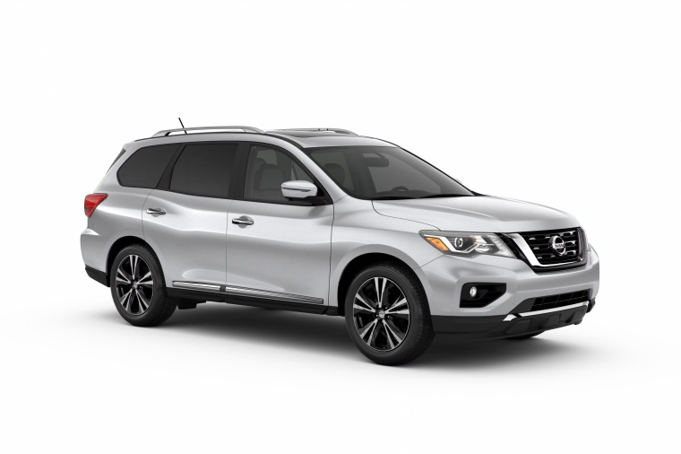 Picture of a 2020 Nissan Pathfinder Platinum in Brilliant Silver Metallic from a front right three-quarter perspective