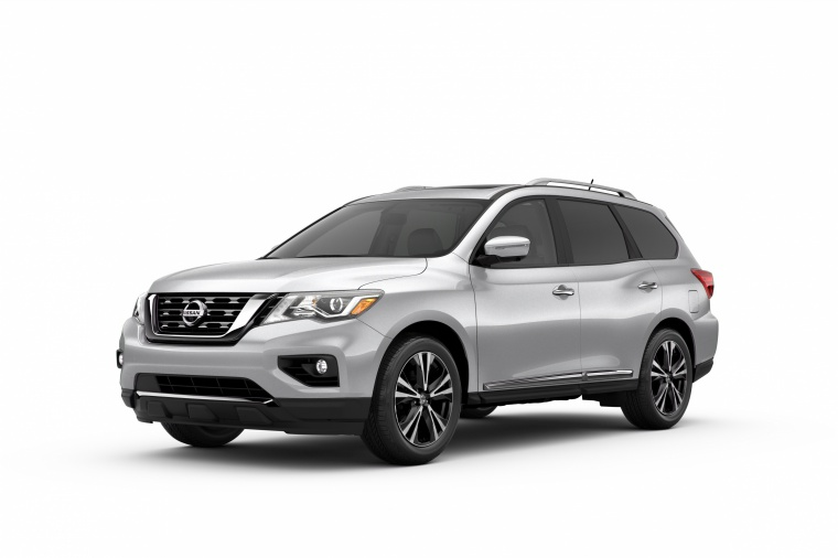 Picture of a 2020 Nissan Pathfinder Platinum in Brilliant Silver Metallic from a front left three-quarter perspective