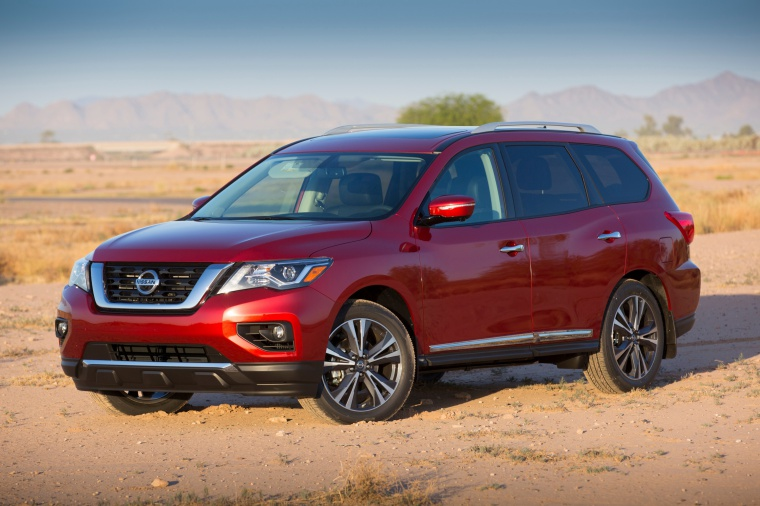 Picture of a 2020 Nissan Pathfinder Platinum 4WD in Scarlet Ember Tintcoat from a front left three-quarter perspective