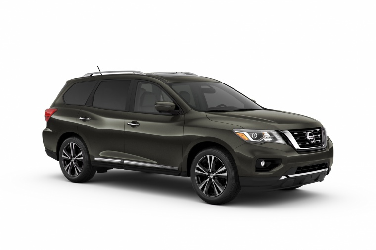 Picture of a 2020 Nissan Pathfinder Platinum in Magnetic Black Pearl from a front right three-quarter perspective