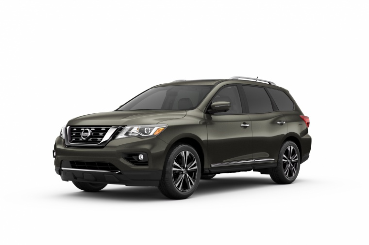 Picture of a 2020 Nissan Pathfinder Platinum in Magnetic Black Pearl from a front left three-quarter perspective