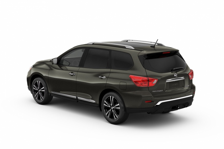 Picture of a 2020 Nissan Pathfinder Platinum in Magnetic Black Pearl from a rear left three-quarter perspective
