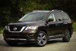 Picture of a 2020 Nissan Pathfinder Platinum 4WD in Mocha Almond Pearl from a front left three-quarter perspective