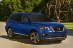 2020 Nissan Pathfinder Platinum 4WD in Caspian Blue Metallic - Static Front Right Three-quarter View