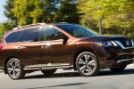 2020 Nissan Pathfinder Platinum 4WD in Mocha Almond Pearl - Driving Front Right Three-quarter View