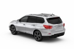 Picture of a 2020 Nissan Pathfinder Platinum in Brilliant Silver Metallic from a rear left three-quarter perspective