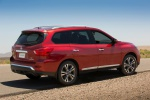 Picture of a 2020 Nissan Pathfinder Platinum 4WD in Scarlet Ember Tintcoat from a rear right three-quarter perspective