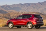Picture of a 2016 Nissan Rogue SL AWD in Cayenne Red from a rear left three-quarter perspective