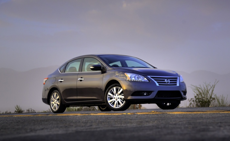 2013 Nissan Sentra SL in Amethyst Gray from a front right three-quarter view