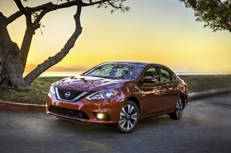 2017 Nissan Sentra SL in Cayenne Red Pearl Metallic from a front left view