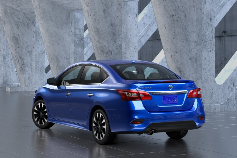 2017 Nissan Sentra SR in Deep Blue Pearl from a rear left view