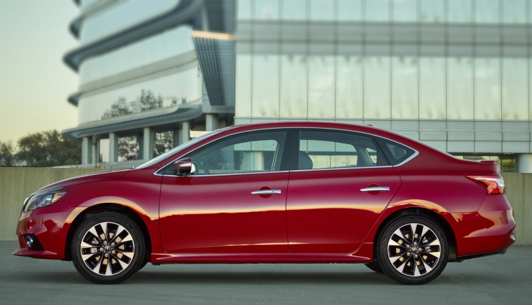 2017 Nissan Sentra SR in Red Alert from a side view