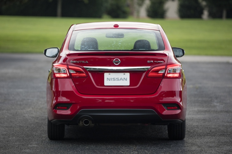 2017 Nissan Sentra SR Turbo in Red Alert from a rear view