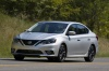 Driving 2017 Nissan Sentra SR Turbo in Brilliant Silver from a front left three-quarter view