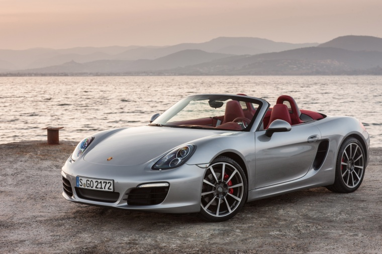 2013 Porsche Boxster S in GT Silver Metallic from a front left view
