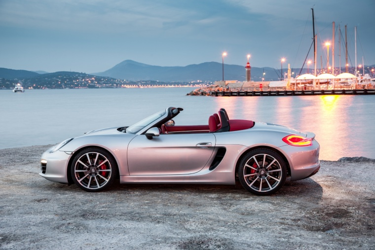 2015 porsche boxster s in gt silver metallic from a side view
