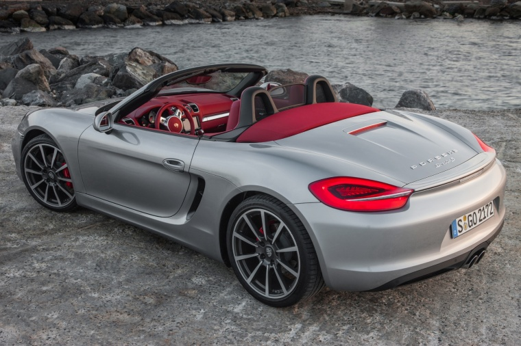 2015 porsche boxster s in gt silver metallic from a rear left three quarter view